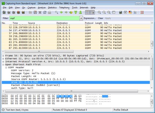 R1 OSPF Hello on Area 1000